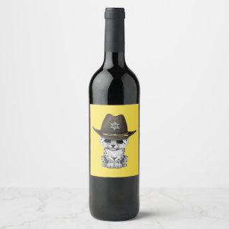Cute Baby Snow Leopard Cub Sheriff Wine Label