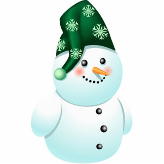 Cute Baby Snowman Cartoon With Green Hat Photo Sculpture Ornament
