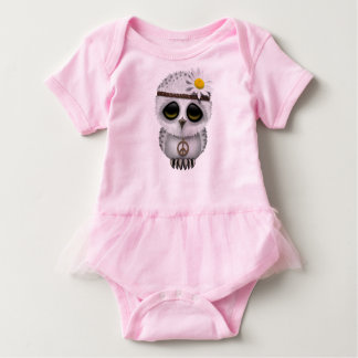Cute Baby Snowy Owl Hippie Baby Bodysuit