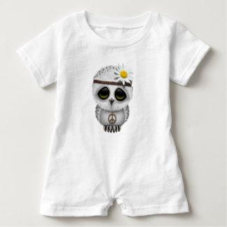 Cute Baby Snowy Owl Hippie Baby Romper