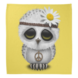 Cute Baby Snowy Owl Hippie Bandana