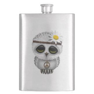 Cute Baby Snowy Owl Hippie Hip Flask