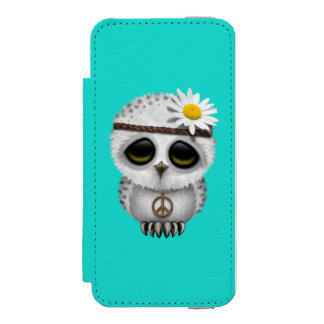 Cute Baby Snowy Owl Hippie Incipio Watson™ iPhone 5 Wallet Case
