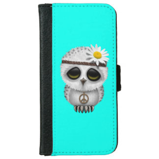 Cute Baby Snowy Owl Hippie iPhone 6 Wallet Case