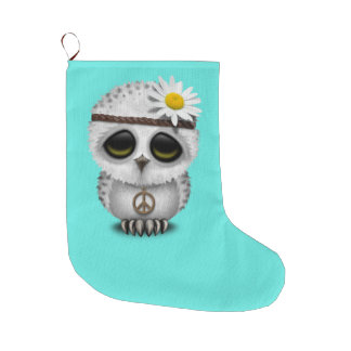 Cute Baby Snowy Owl Hippie Large Christmas Stocking