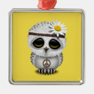 Cute Baby Snowy Owl Hippie Metal Ornament