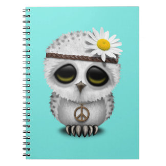 Cute Baby Snowy Owl Hippie Notebooks