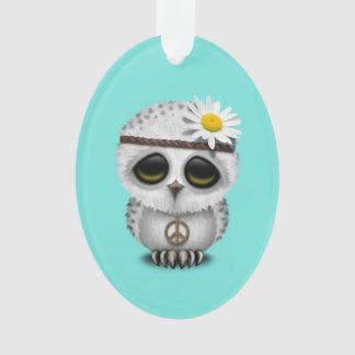 Cute Baby Snowy Owl Hippie Ornament