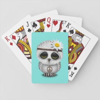 Cute Baby Snowy Owl Hippie Playing Cards