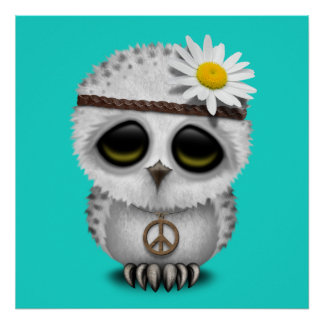 Cute Baby Snowy Owl Hippie Poster