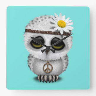 Cute Baby Snowy Owl Hippie Square Wall Clock