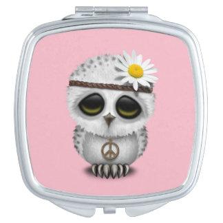 Cute Baby Snowy Owl Hippie Vanity Mirrors