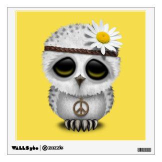 Cute Baby Snowy Owl Hippie Wall Decal