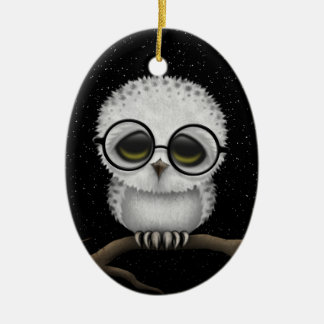 Cute Baby Snowy Owl Wearing Glasses with Stars Ceramic Ornament