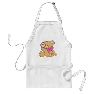 Cute Baby Teddy Bear with Lollipop Standard Apron