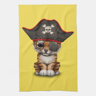 Cute Baby Tiger Cub Pirate Kitchen Towel