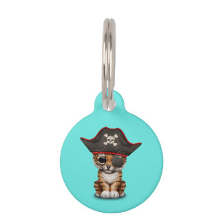 Cute Baby Tiger Cub Pirate Pet ID Tag