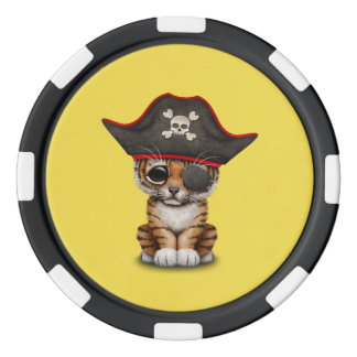 Cute Baby Tiger Cub Pirate Poker Chips