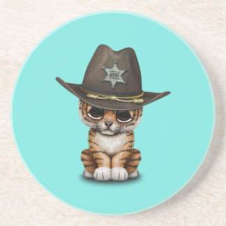 Cute Baby Tiger Cub Sheriff Coaster