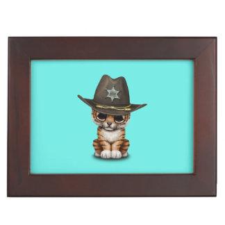 Cute Baby Tiger Cub Sheriff Keepsake Box