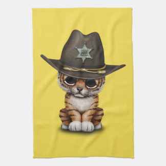 Cute Baby Tiger Cub Sheriff Kitchen Towel
