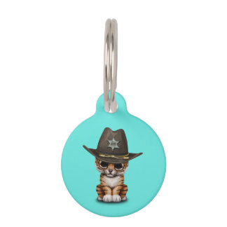 Cute Baby Tiger Cub Sheriff Pet ID Tag