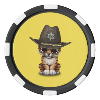 Cute Baby Tiger Cub Sheriff Poker Chips