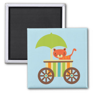 Cute Baby Tiger on Ice Cream Cart Kids Gifts Magnet