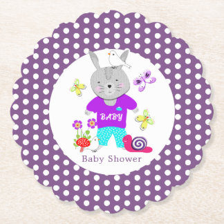 Cute Baby Toy Bunny Rabbit Baby Shower Paper Coaster