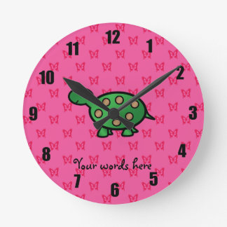 Cute baby turtle round wall clock