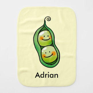 cute baby twins, 2 peas in a pod baby shower burp cloth