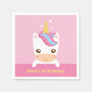 Cute Baby Unicorn First Birthday Party Napkins Disposable Napkins