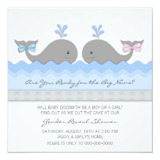 Cute Baby Whale Gender Reveal Card