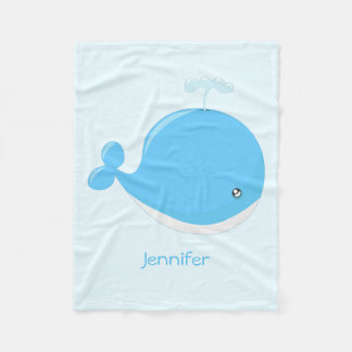 Cute baby whale kawaii cartoon fleece blanket