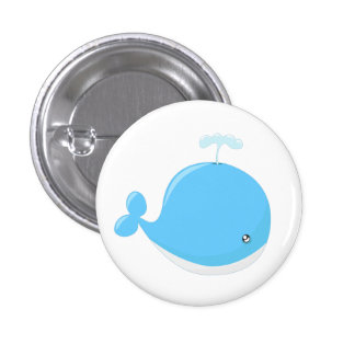 Cute baby whale kawaii cartoon kids 1 inch round button