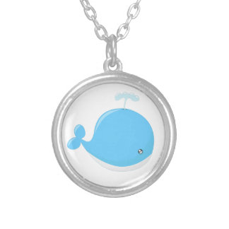 Cute baby whale kawaii cartoon silver plated necklace