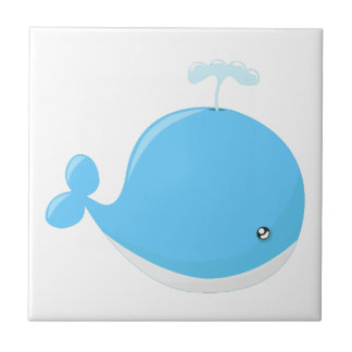 Cute baby whale kawaii cartoon tile