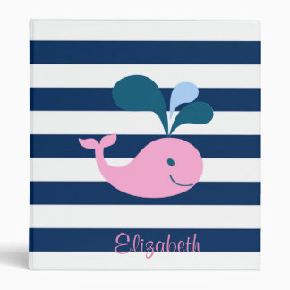 Cute Baby Whale, Navy Blue Stripes-Personalized 3 Ring Binder