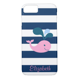 Cute Baby Whale, Navy Blue Stripes-Personalized iPhone 8/7 Case
