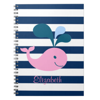 Cute Baby Whale, Navy Blue Stripes-Personalized Notebook