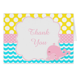 Cute Baby Whale Pink Girl Baby Thank You Card