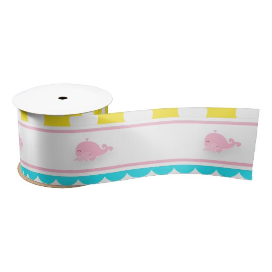 Cute Baby Whale Pink Girl Satin Ribbon