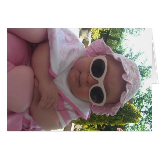 Cute baby with sunglasses card