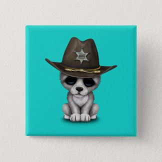 Cute Baby Wolf Sheriff 2 Inch Square Button