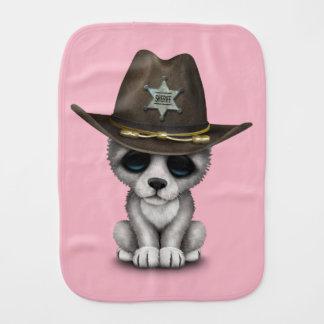 Cute Baby Wolf Sheriff Burp Cloth
