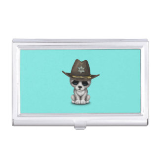 Cute Baby Wolf Sheriff Business Card Holder