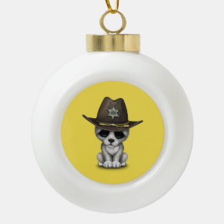 Cute Baby Wolf Sheriff Ceramic Ball Christmas Ornament