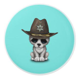Cute Baby Wolf Sheriff Ceramic Knob
