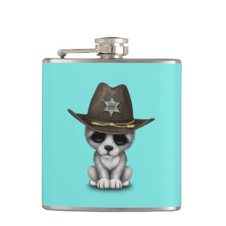 Cute Baby Wolf Sheriff Hip Flask