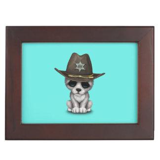 Cute Baby Wolf Sheriff Keepsake Box